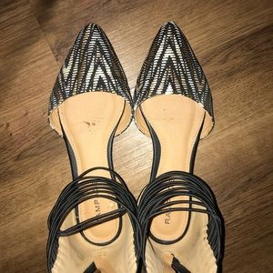 Shoes - Animal print pointed toe flats with ankle strap